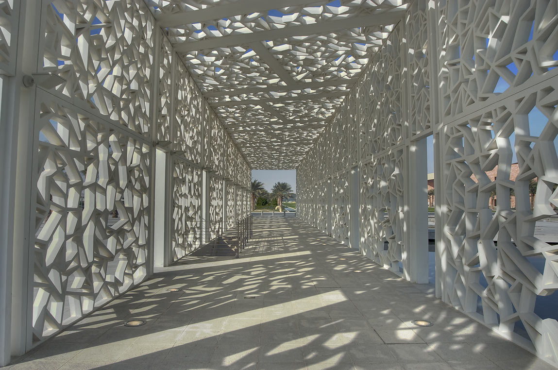 Shaded walkway of Ceremonial Court on campus of Education City. Doha, Qatar