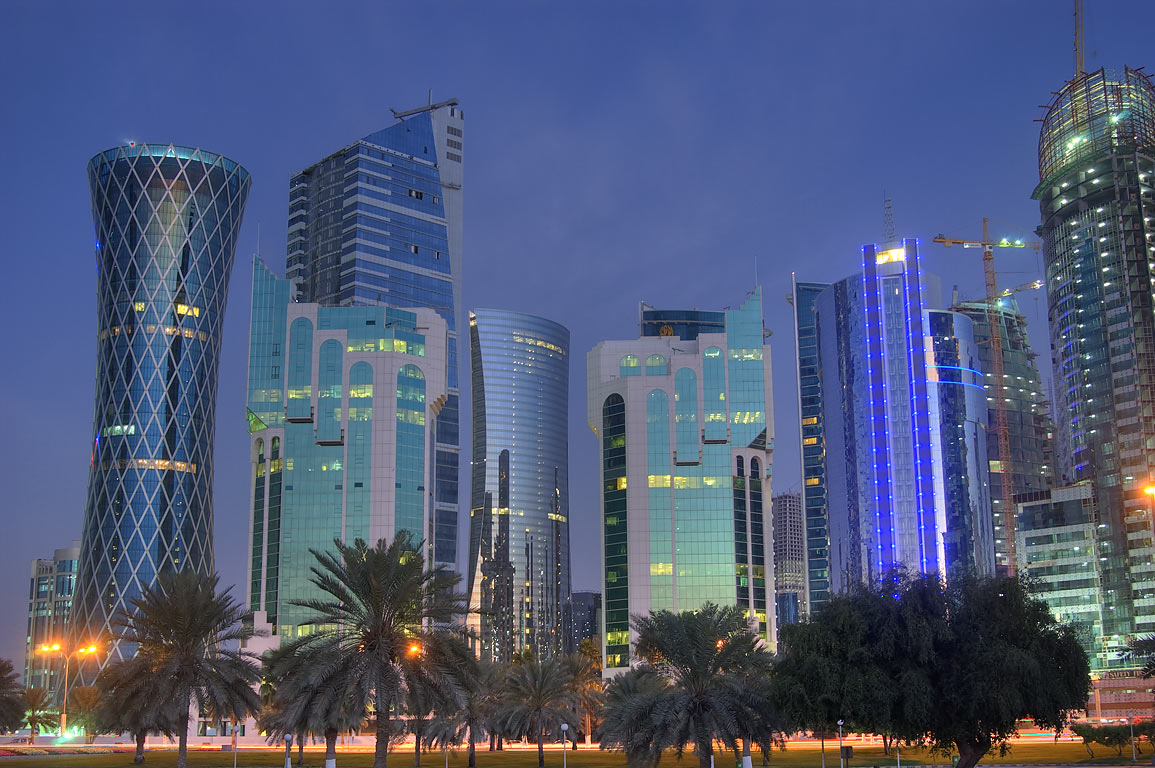 West Bay towers from Sheraton Park on Corniche at morning dusk. Doha, Qatar