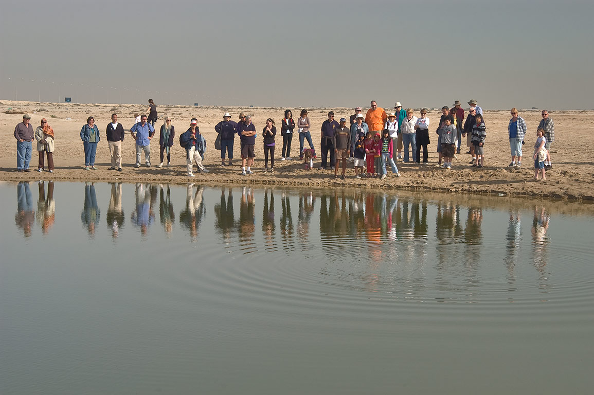 Qatar Natural History Group measuring depth of a...and Mesaieed, north from Doha. Qatar