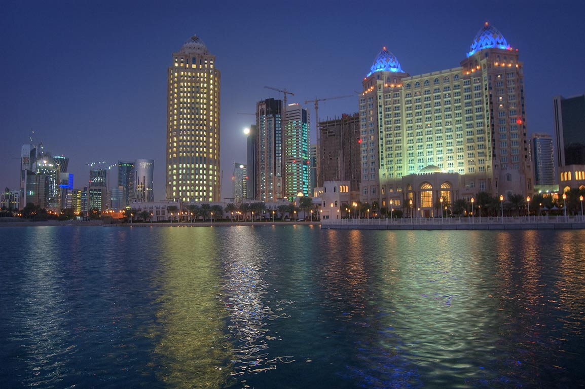 View from marina of Four Seasons Hotel at morning. Doha, Qatar