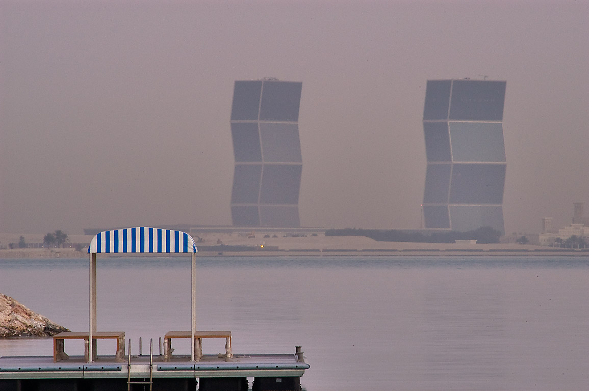 Zigzag Towers in West Bay Lagoon, view from marina of Four Seasons Hotel. Doha, Qatar
