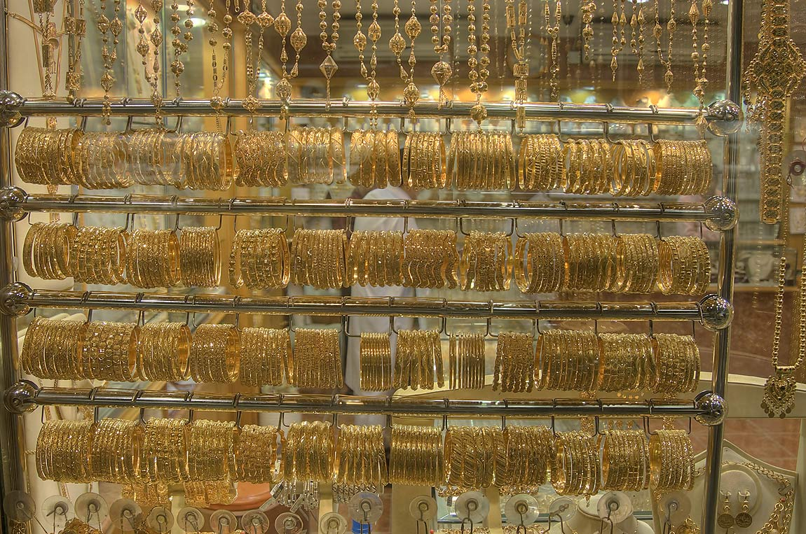 Masses of golden rings hanging in Gold Souq (market). Doha, Qatar