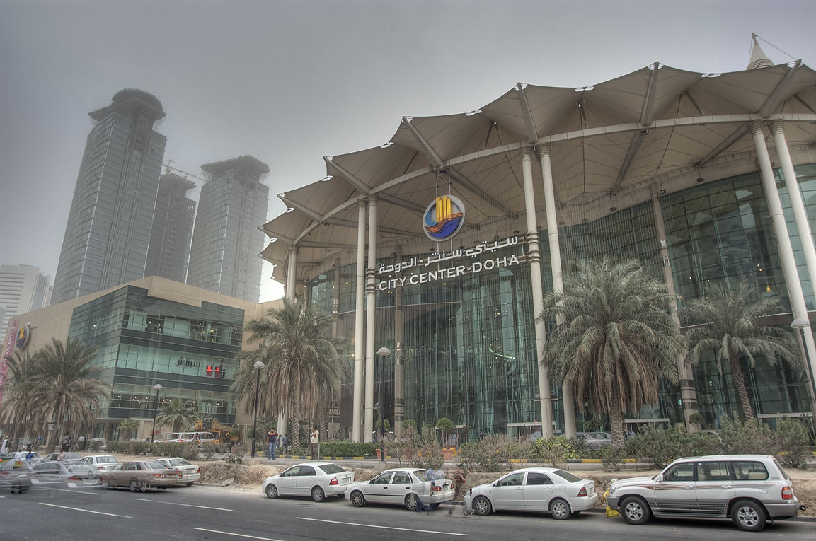 City Center shopping mall during dust storm. Doha, Qatar