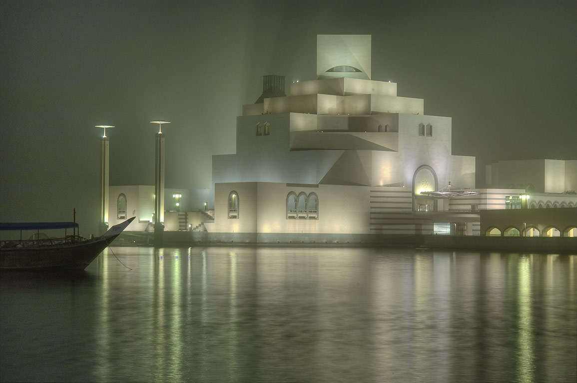 Museum of Islamic Art on artificial island, view...during dust storm. Doha, Qatar