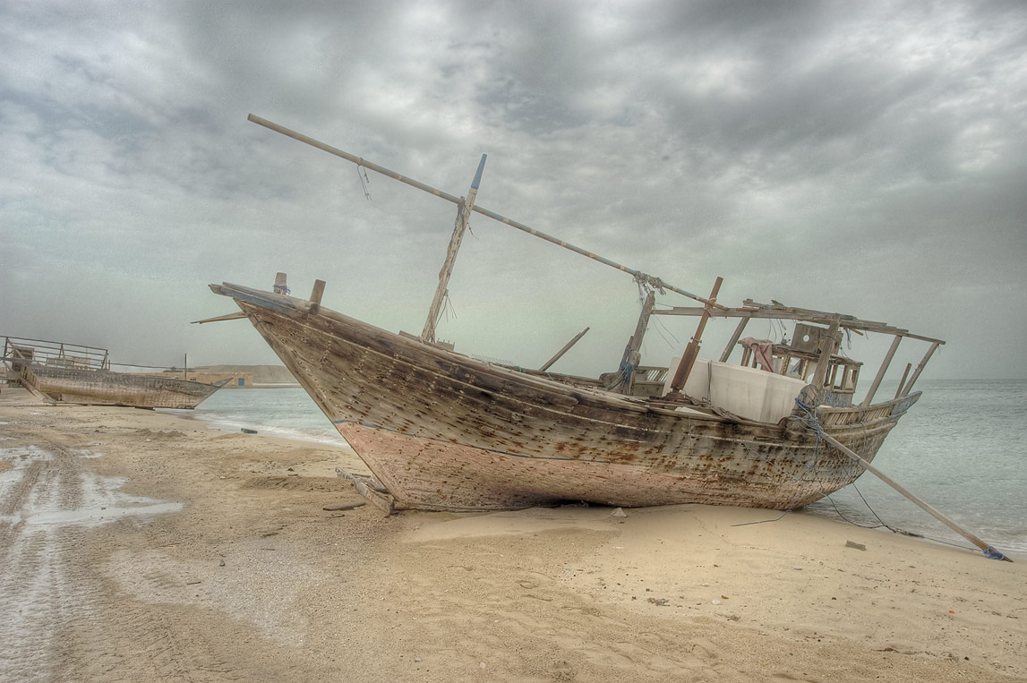 Beached dhow boats in Al Wakra, south from Doha. Qatar
