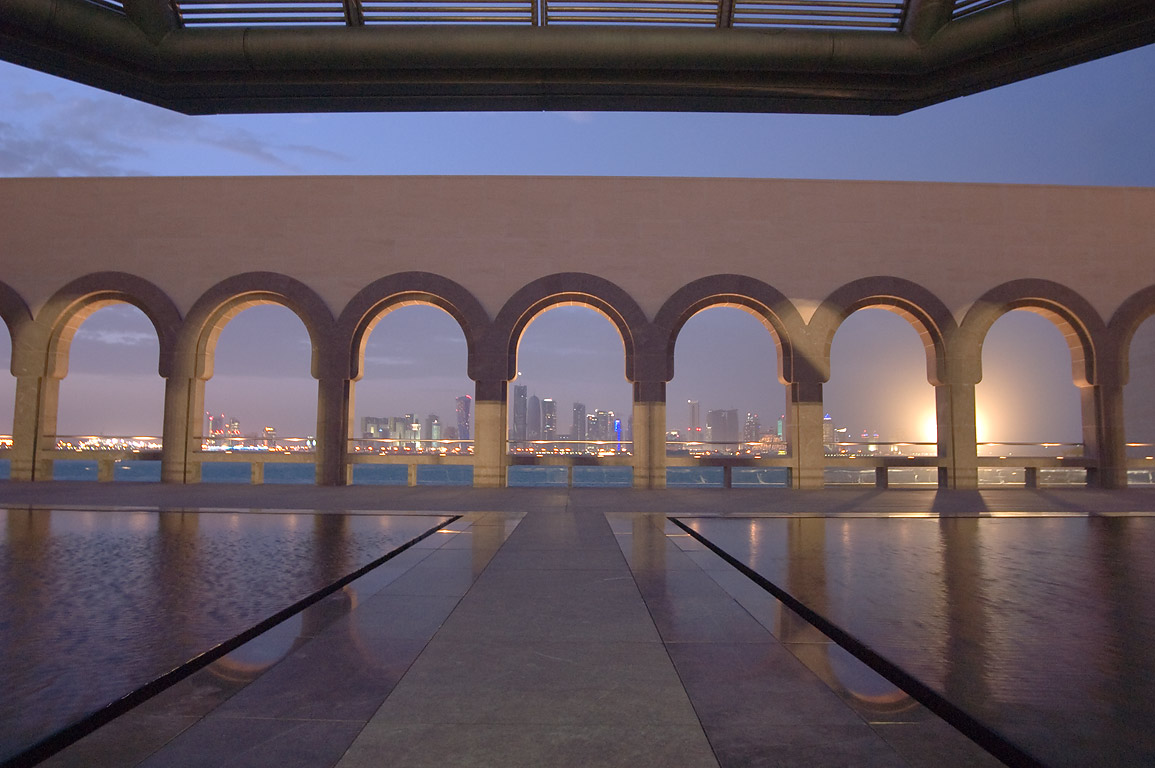 View of Arabian Gulf and West Bay from fountain...in Museum of Islamic Art. Doha, Qatar