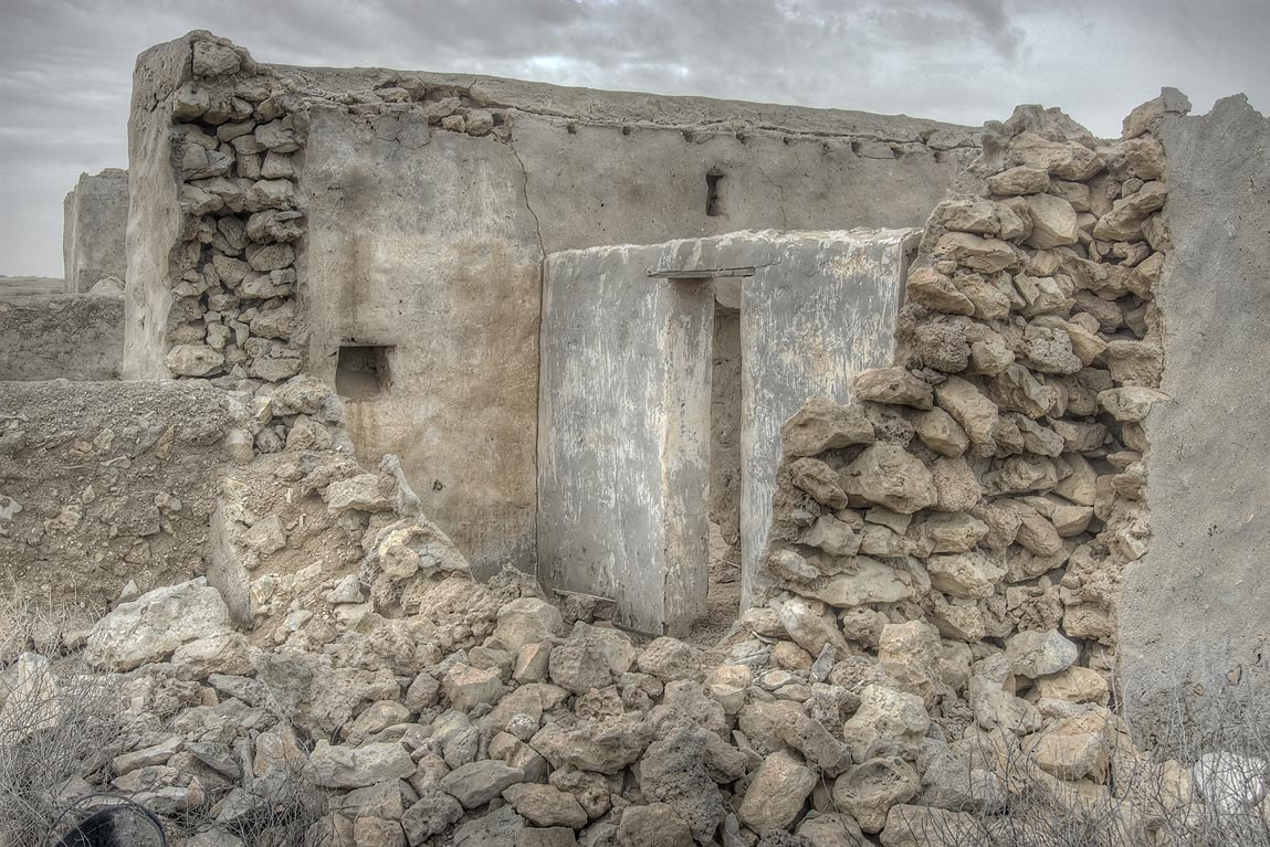 Ruined house in a village of Al Jumail (Jumayl...of Ruwais on northwest coast. Qatar