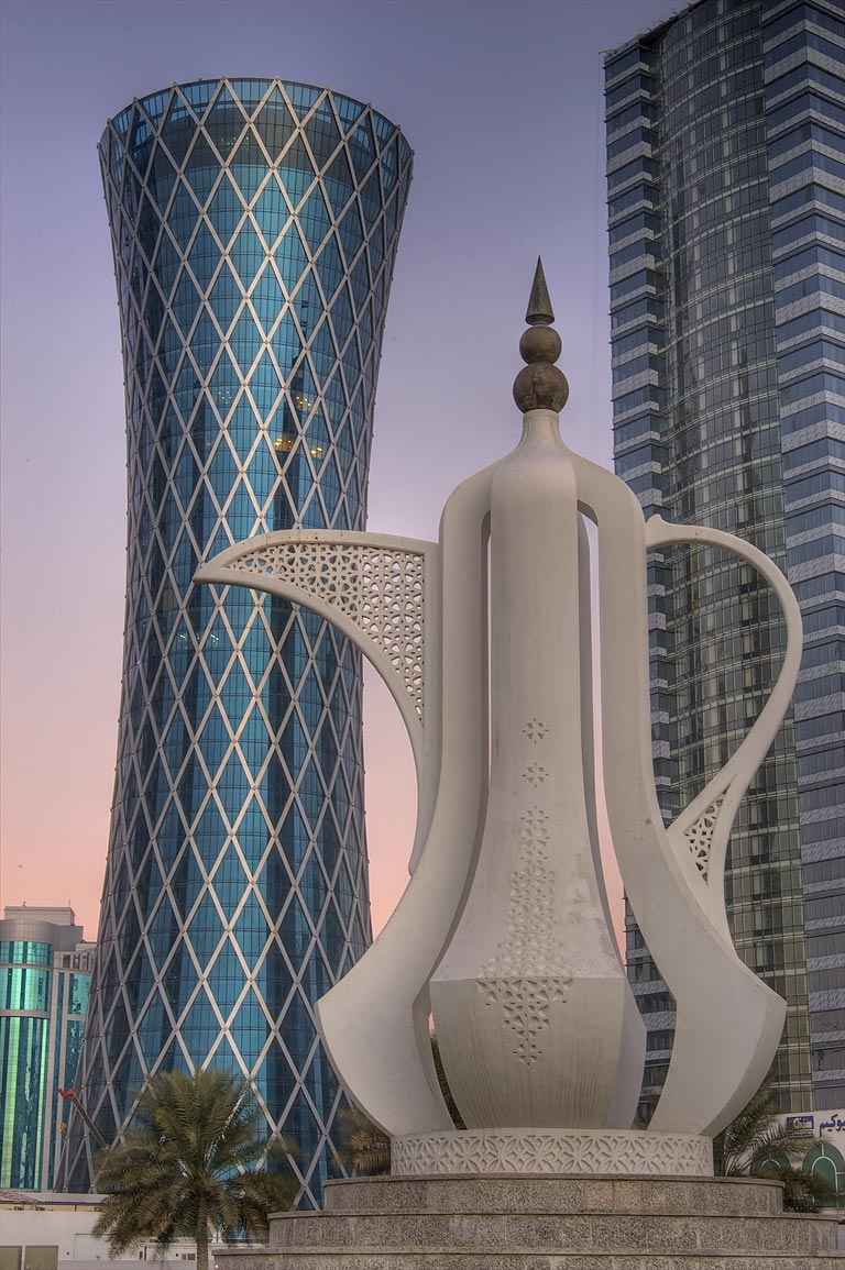 Teapot sculpture (dallah, or coffee pot monument...from Corniche at sunrise. Doha, Qatar