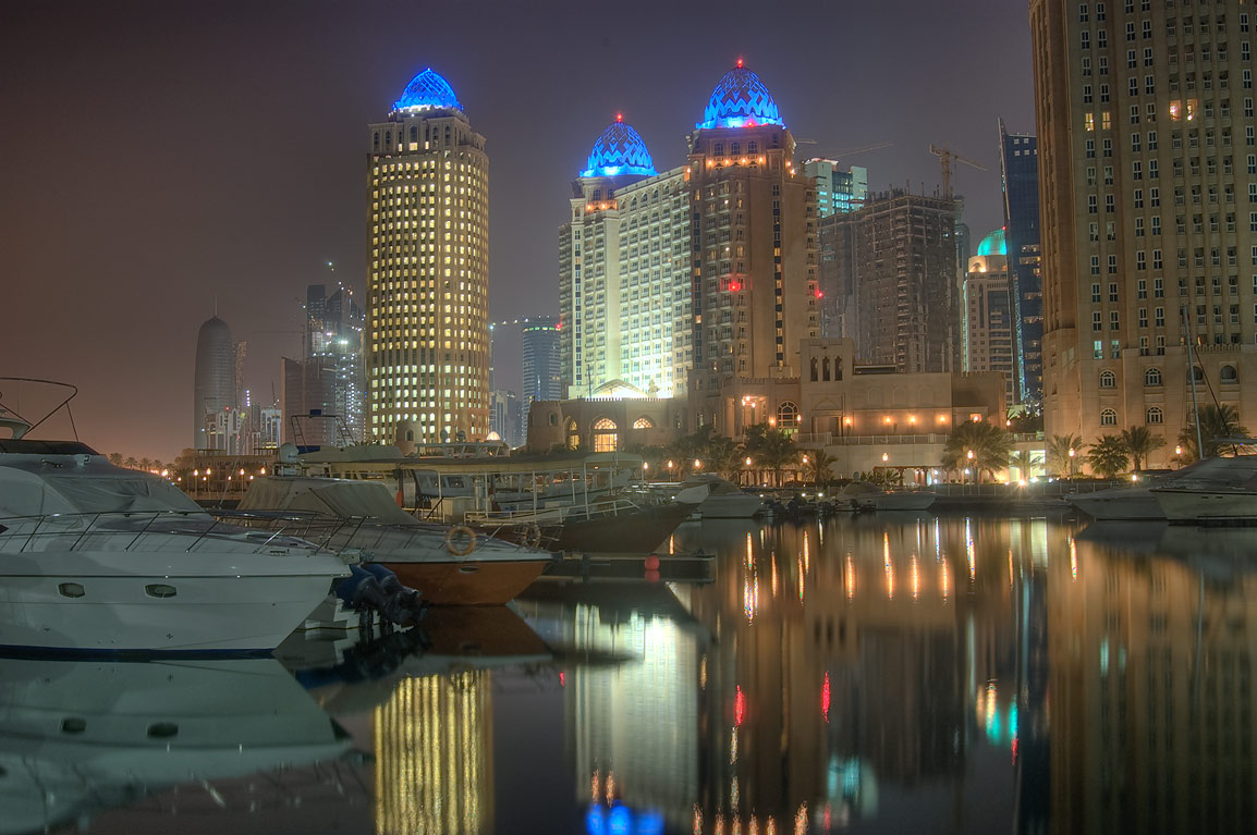 Marina of Four Season Hotel in West Bay. Doha, Qatar