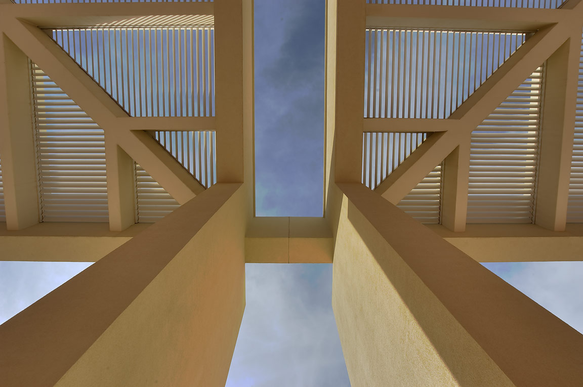Architecture of west entrance of TAMUQ research...in Education City campus. Doha, Qatar
