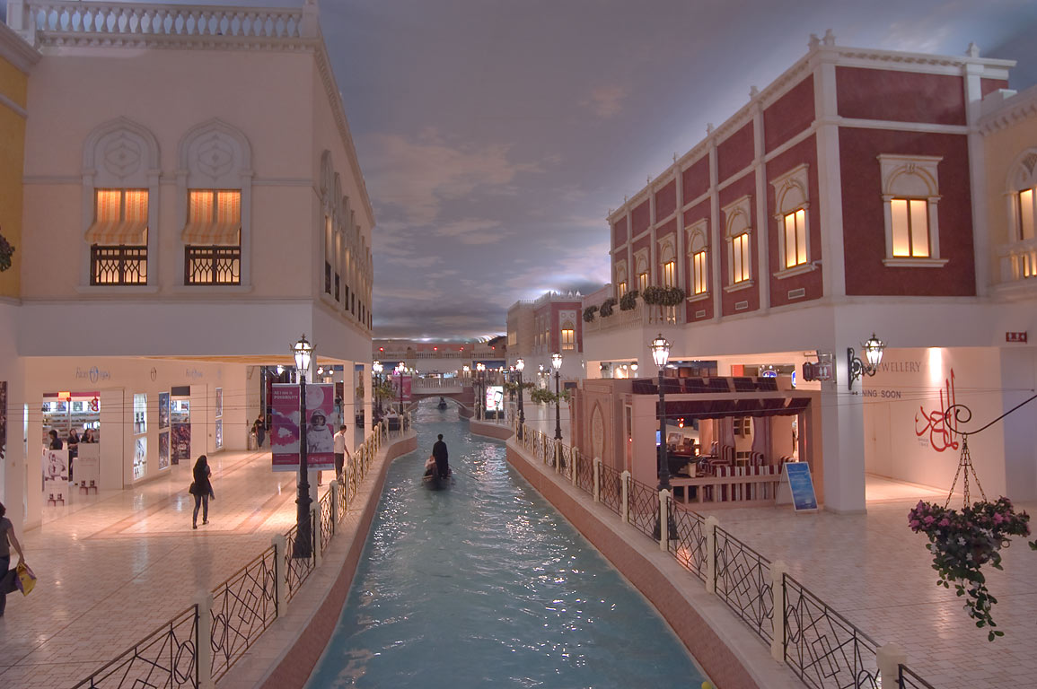 Grand canal in Villagio shopping mall in Aspire Zone. Doha, Qatar