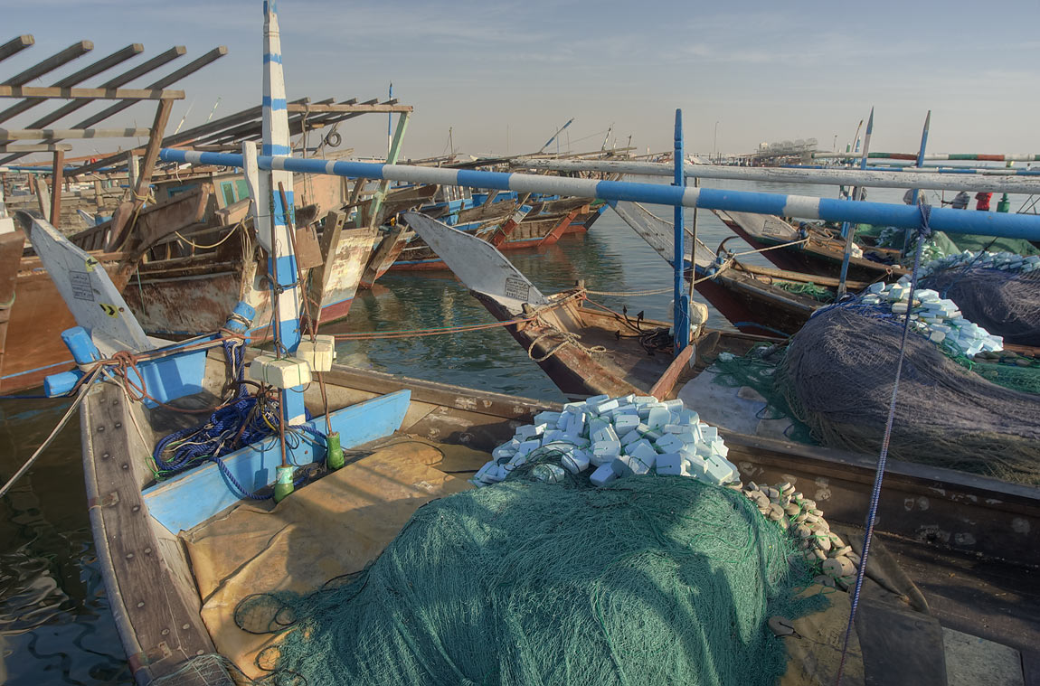 Dhow boats with fishing nets in a harbor. Al Khor, Qatar