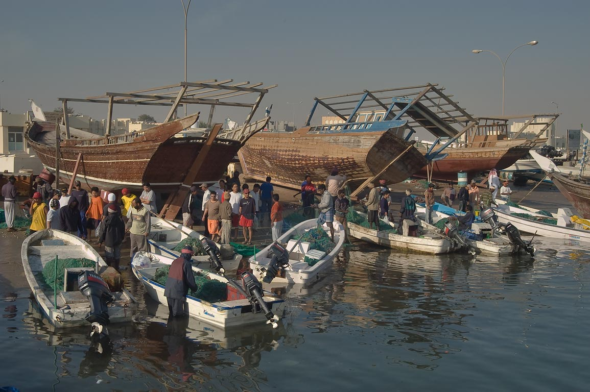 Fish market in dhow harbor. Al Khor, Qatar