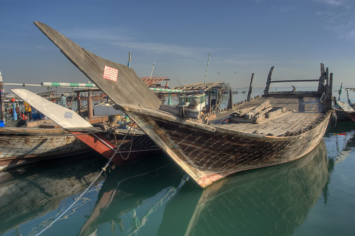 Dhow boats in a fishing harbor. Al Khor, Qatar
