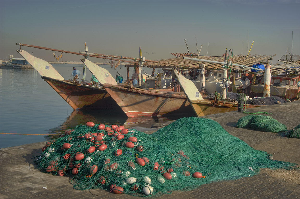 Fish nets in dhow harbor. Al Khor, Qatar