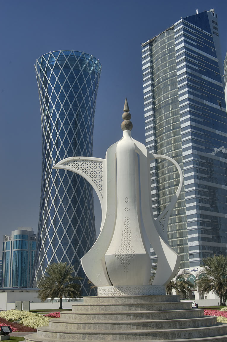 Giant teapot sculpture (dallah, or coffee pot...view from Corniche. Doha, Qatar