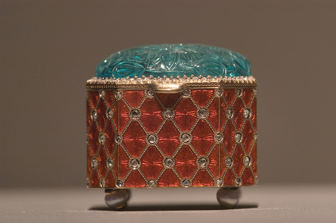 Decorated small box on display in Museum of Islamic Art. Doha, Qatar