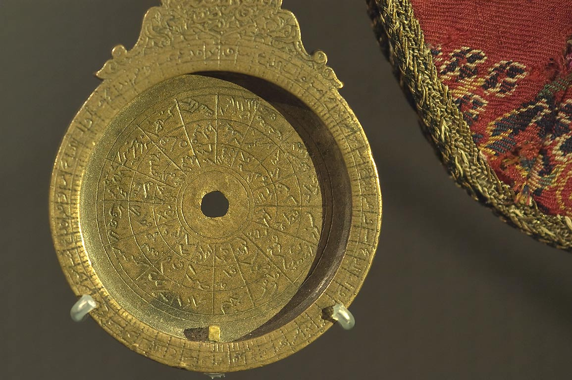 Small astrolabe on display in Museum of Islamic Art. Doha, Qatar