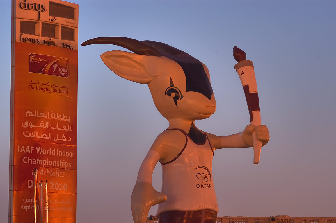 Orry the Oryx (mascot of the 15th Asian Games) statue on Corniche at morning. Doha, Qatar