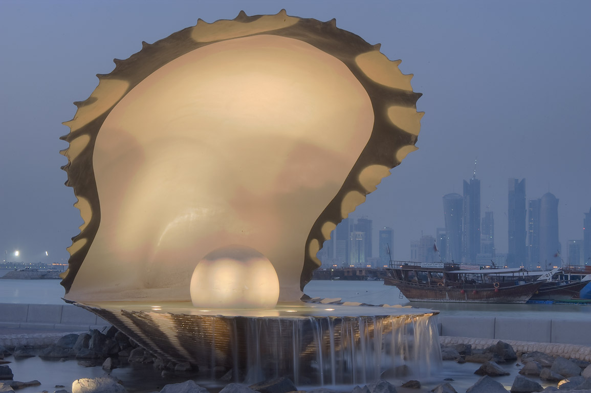 Oyster and Pearl statue and fountain on Corniche. Doha, Qatar
