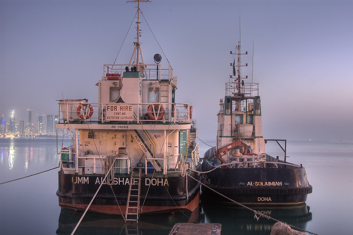 Two fishing boats in Doha port at morning. Doha, Qatar