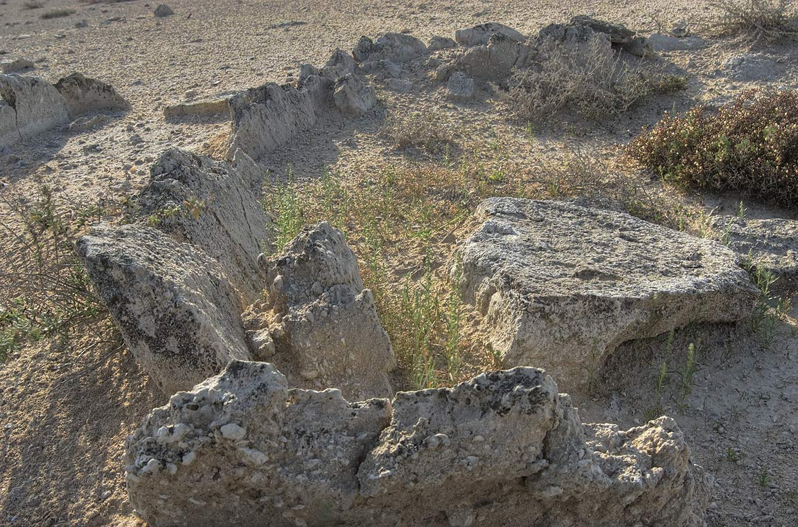 Excavated stone walls on the Kassite dye site in...Jazirat Bin Ghanim). Al Khor, Qatar