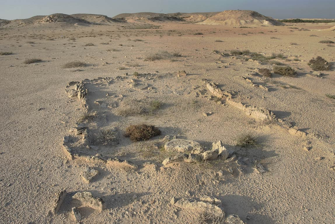 Excavated remains of a stone building on the...Jazirat Bin Ghanim). Al Khor, Qatar