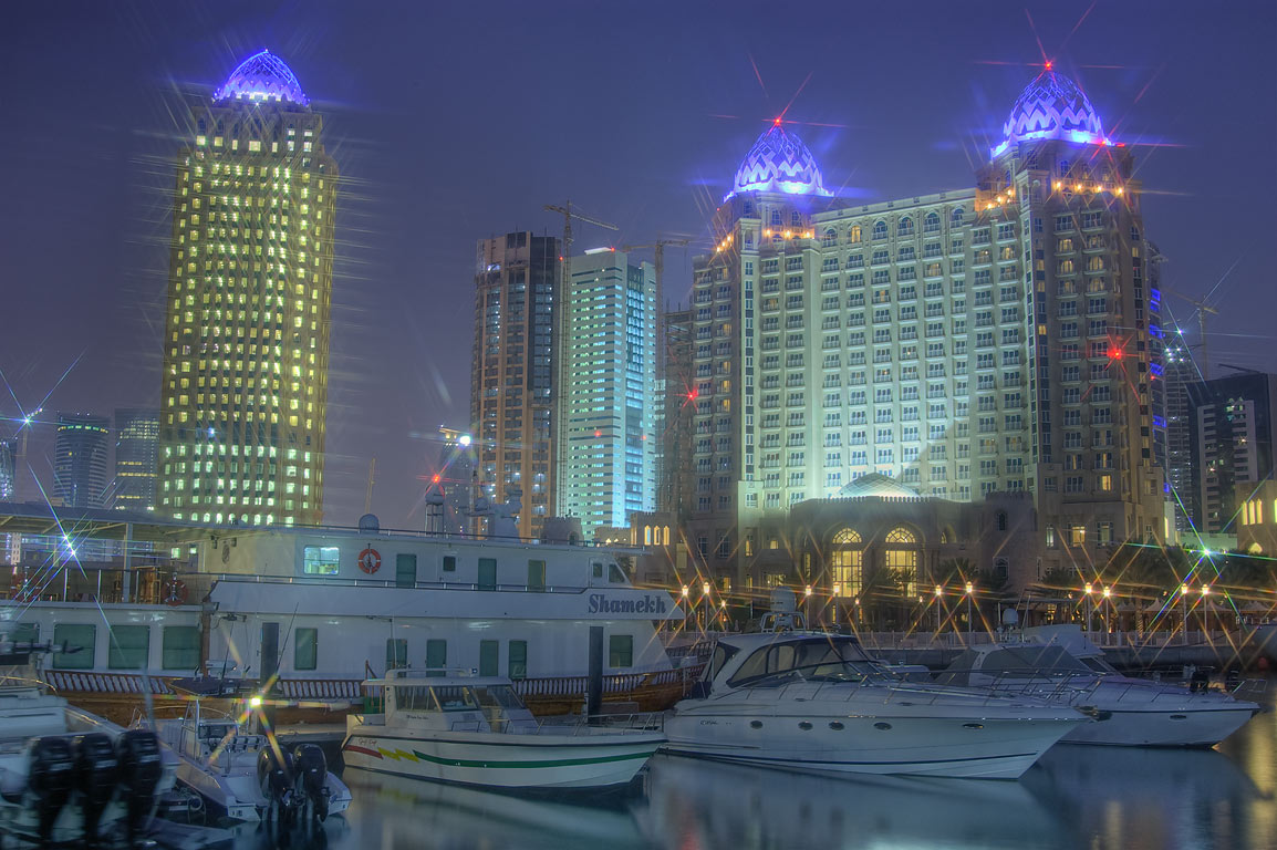 Boats in marina of Four Seasons Hotel at morning. Doha, Qatar