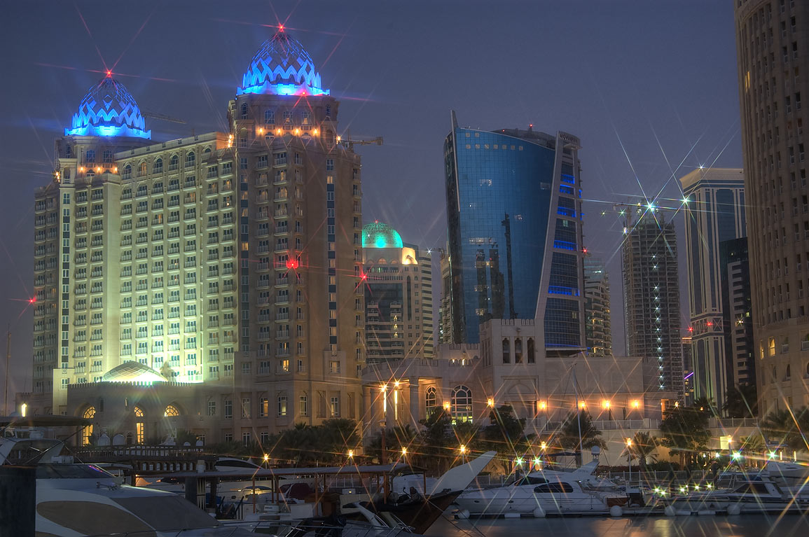 Four Seasons Hotel from marina at morning. Doha, Qatar
