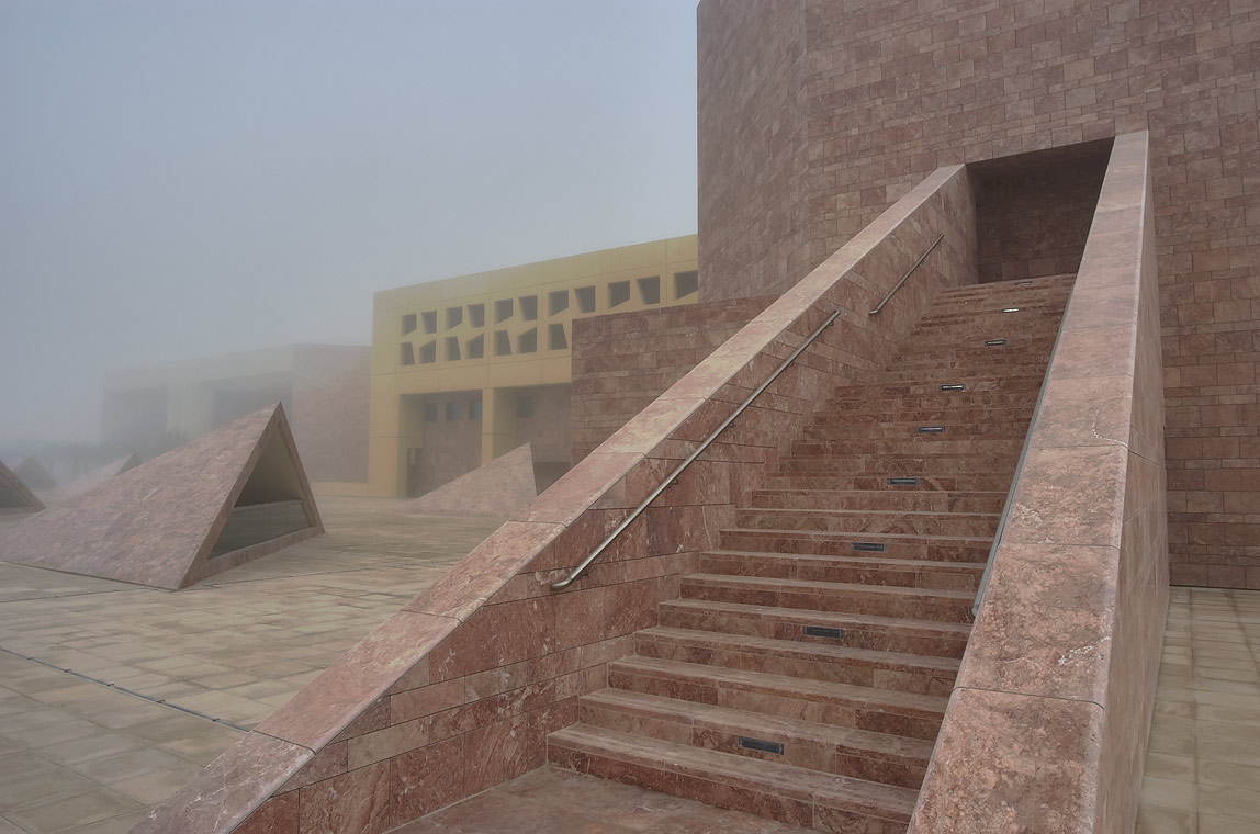 TAMUQ Main Lecture Hall 238 (Texas A&M...City campus in fog. Doha, Qatar