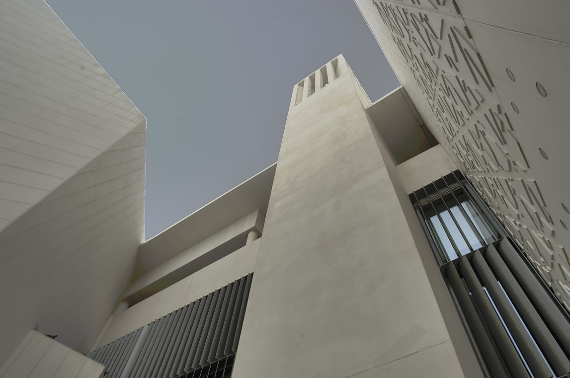 Wind tower in a courtyard of Weill Cornell...in Education City campus. Doha, Qatar