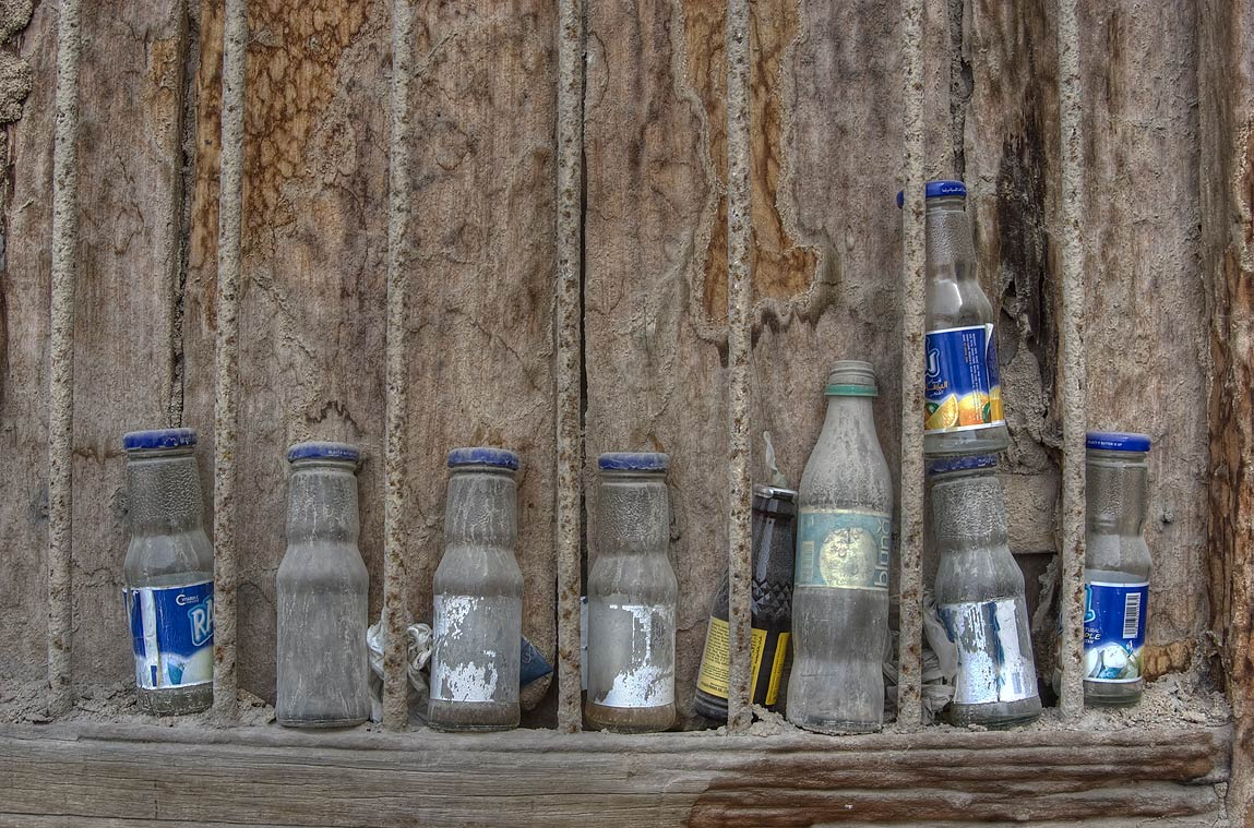 Soft drink bottles in area of Salala St.. Doha, Qatar