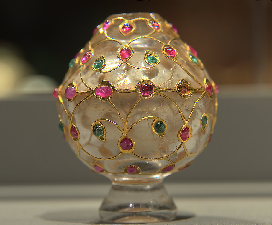 Glass vase with inlaid rubies and emeralds on...in Museum of Islamic Art. Doha, Qatar