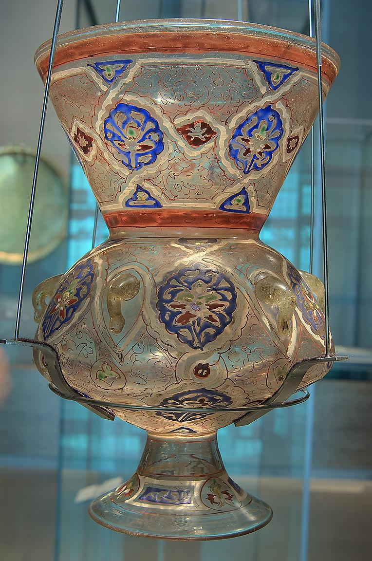 Mosque lamp (Egypt, Cairo, 1347-1361 AD glass...in Museum of Islamic Art. Doha, Qatar