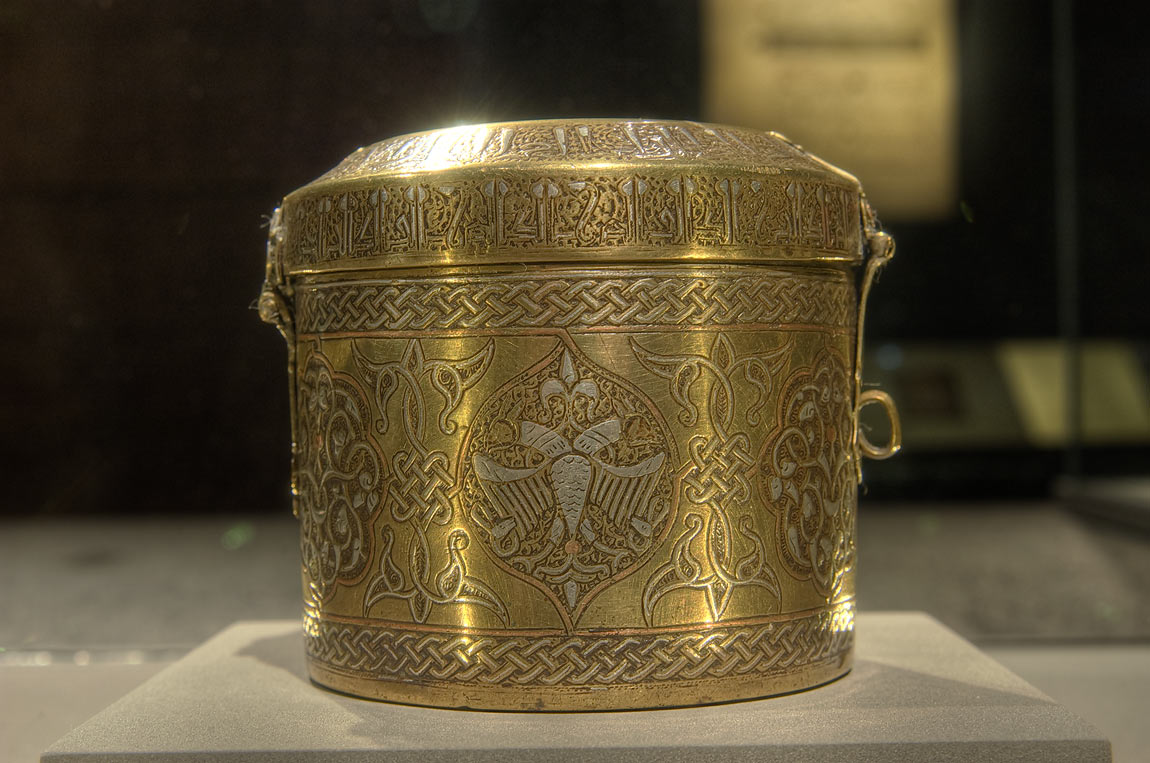 Mamluk box (16th century, brass with silver inlay...in Museum of Islamic Art. Doha, Qatar