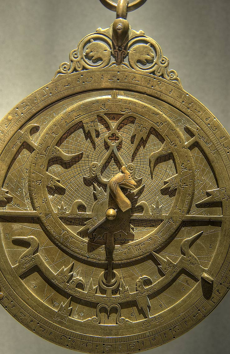 Brass astrolabe on display in Museum of Islamic Art. Doha, Qatar