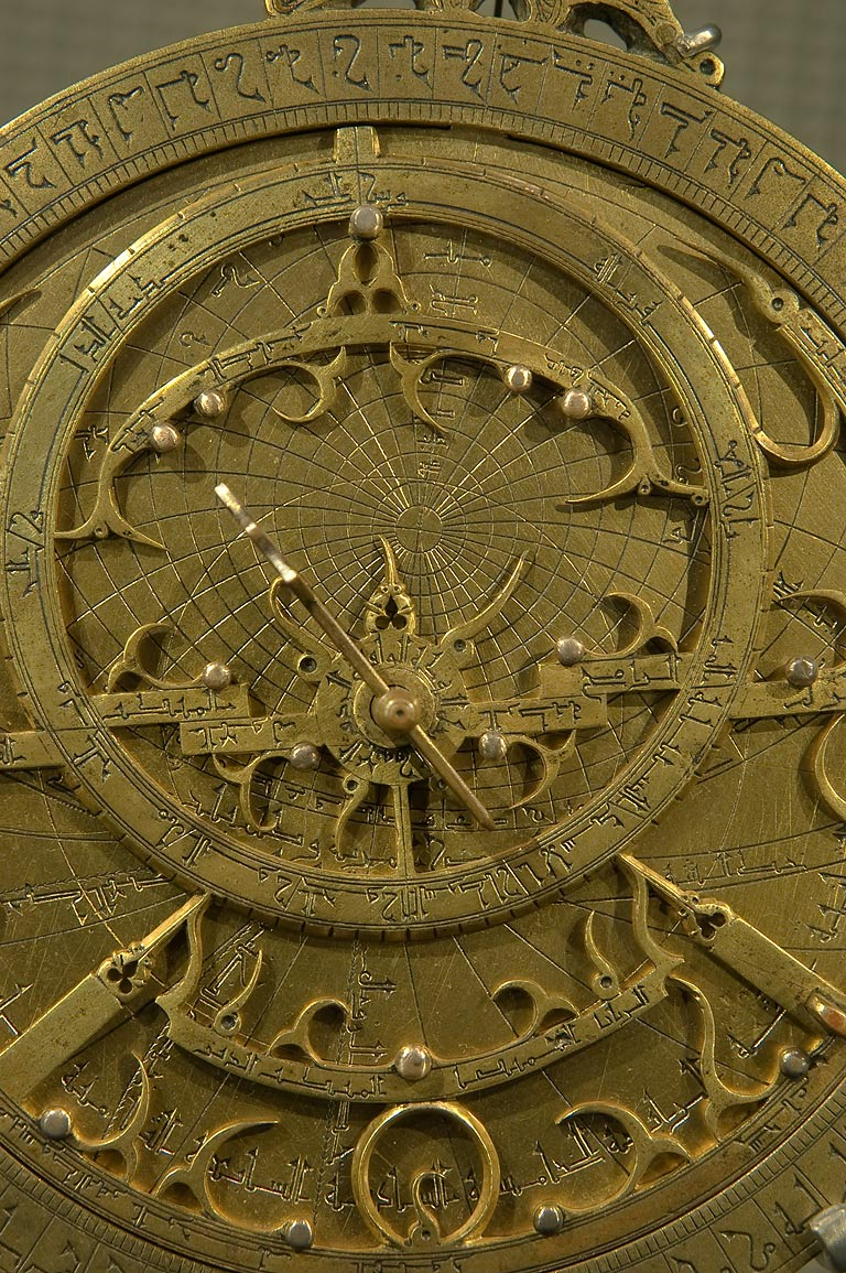 One of brass astrolabes on display in Museum of Islamic Art. Doha, Qatar