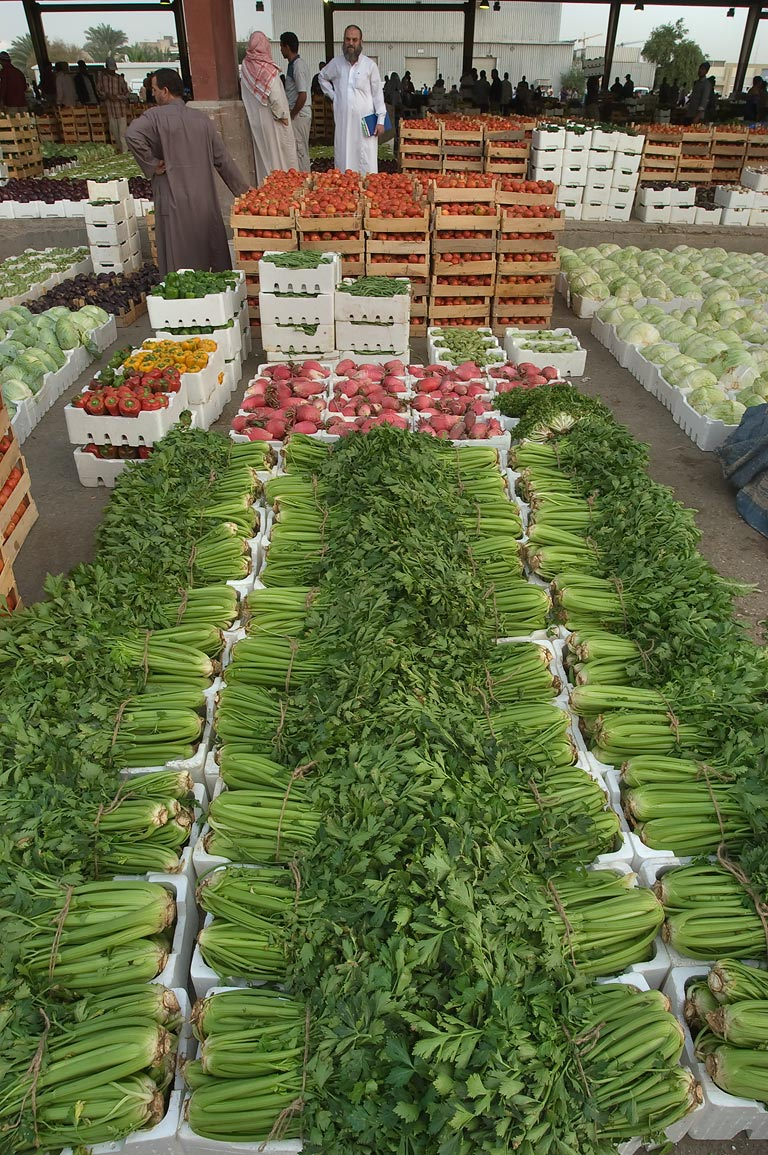 Celery in Wholesale Vegetable Market. Doha, Qatar
