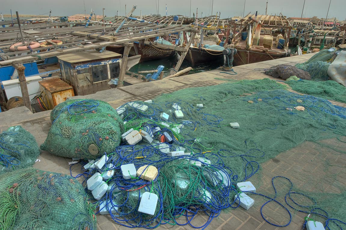 Fishing nets in dhow harbor. Al Khor, Qatar