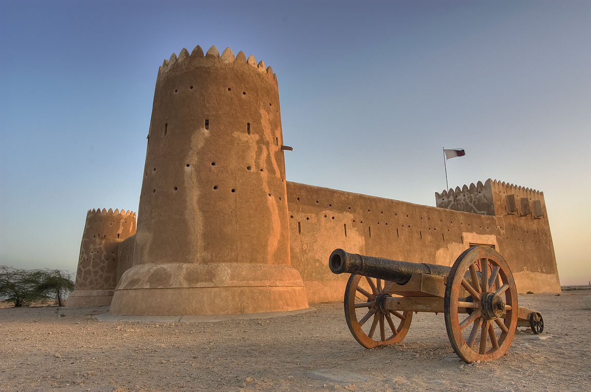 Zubara Fort with a cannon at morning. North-west coast, Qatar