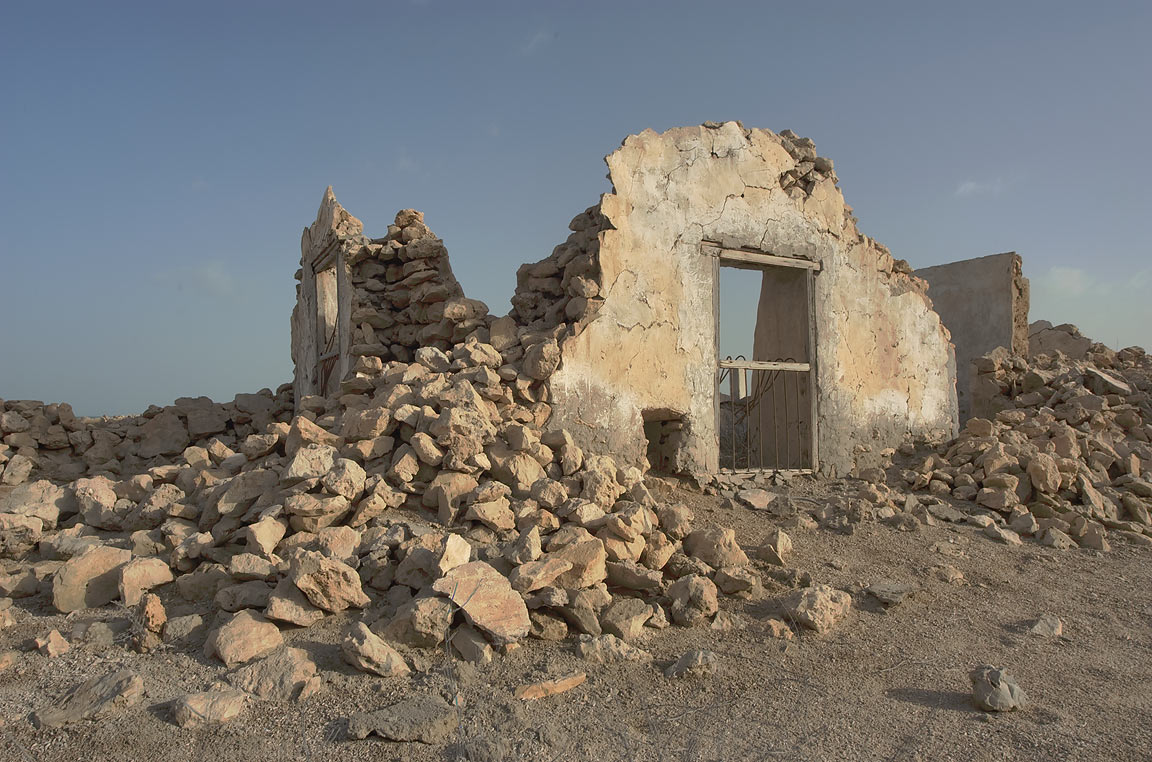 Ruined village of Al Jumail (Jumayl) used for...of Ruwais on northwest coast. Qatar