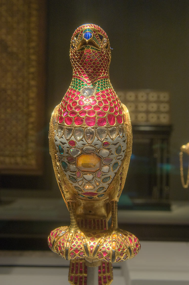 Jeweled falcon (India, c. 1640, gold with enamel...in Museum of Islamic Art. Doha, Qatar
