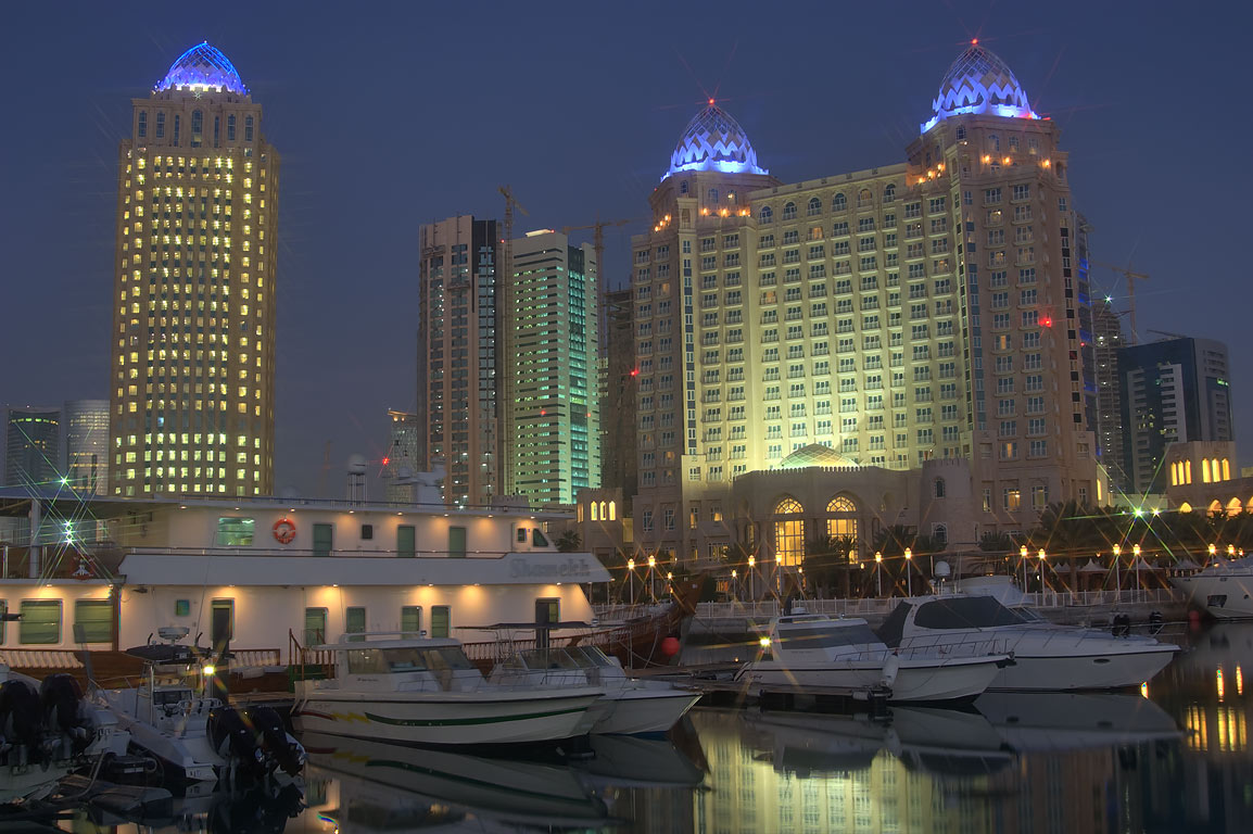 Yachts in marina of Four Seasons Hotel at morning. Doha, Qatar