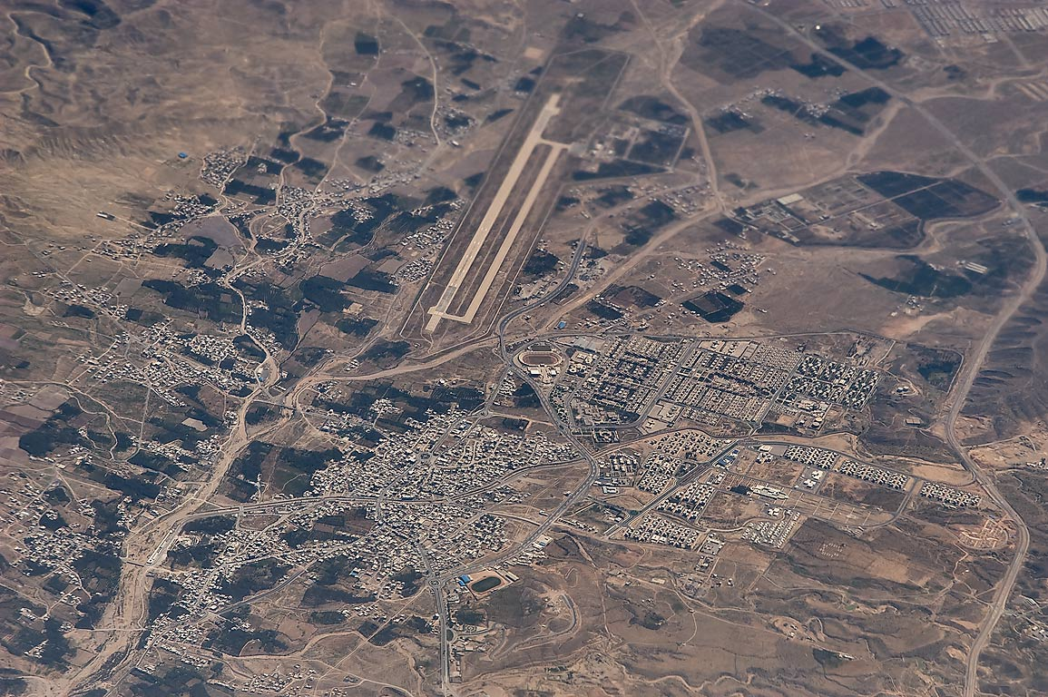 Jam and its airport (KNR) in south-western Iran...plane from Doha, Qatar to Houston, TX