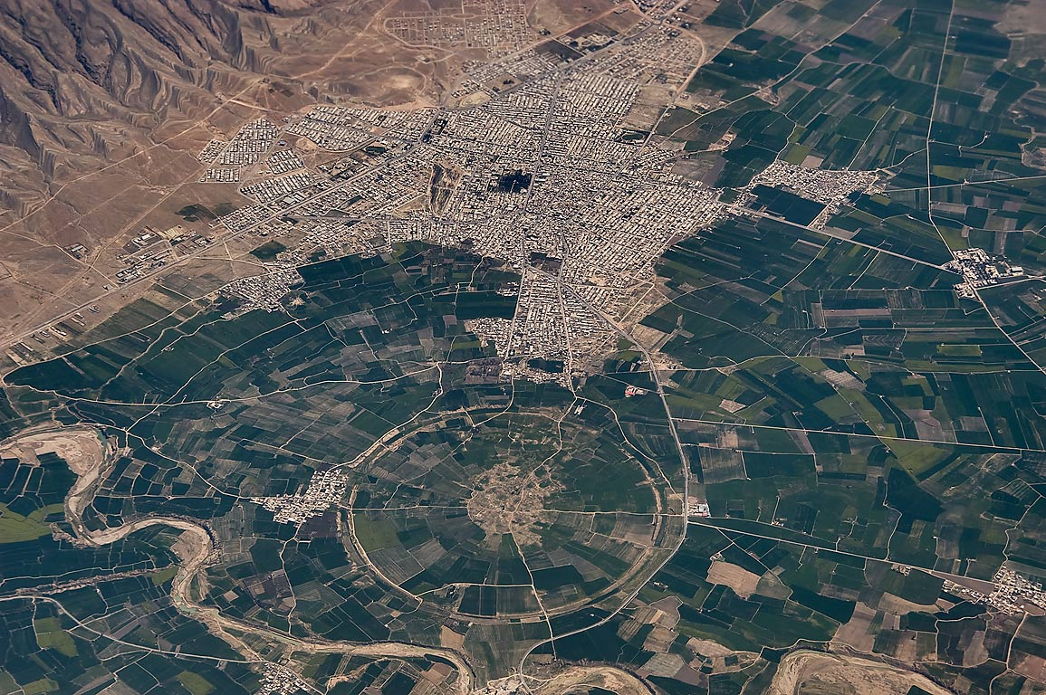 Ancient city of Firuzabad in south-western Iran...plane from Doha, Qatar to Houston, TX