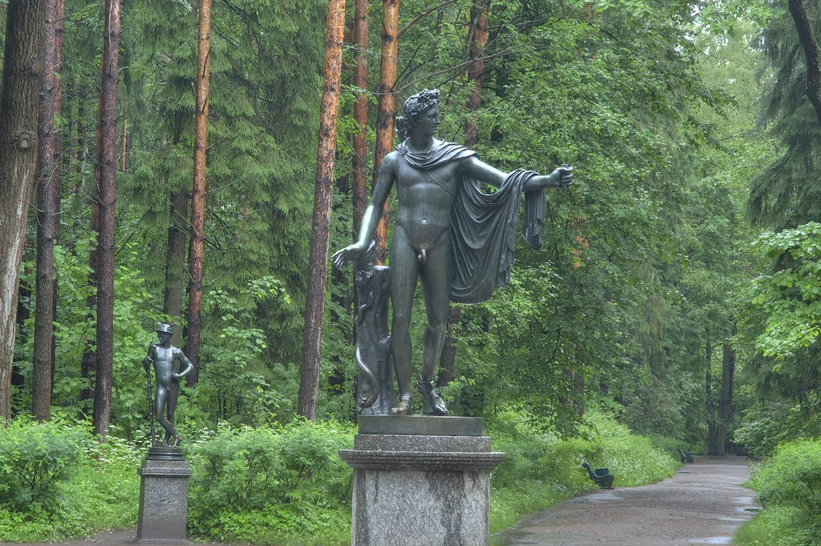 Central statue of Apollo, a Greek and Roman god...Park, south from St.Petersburg, Russia