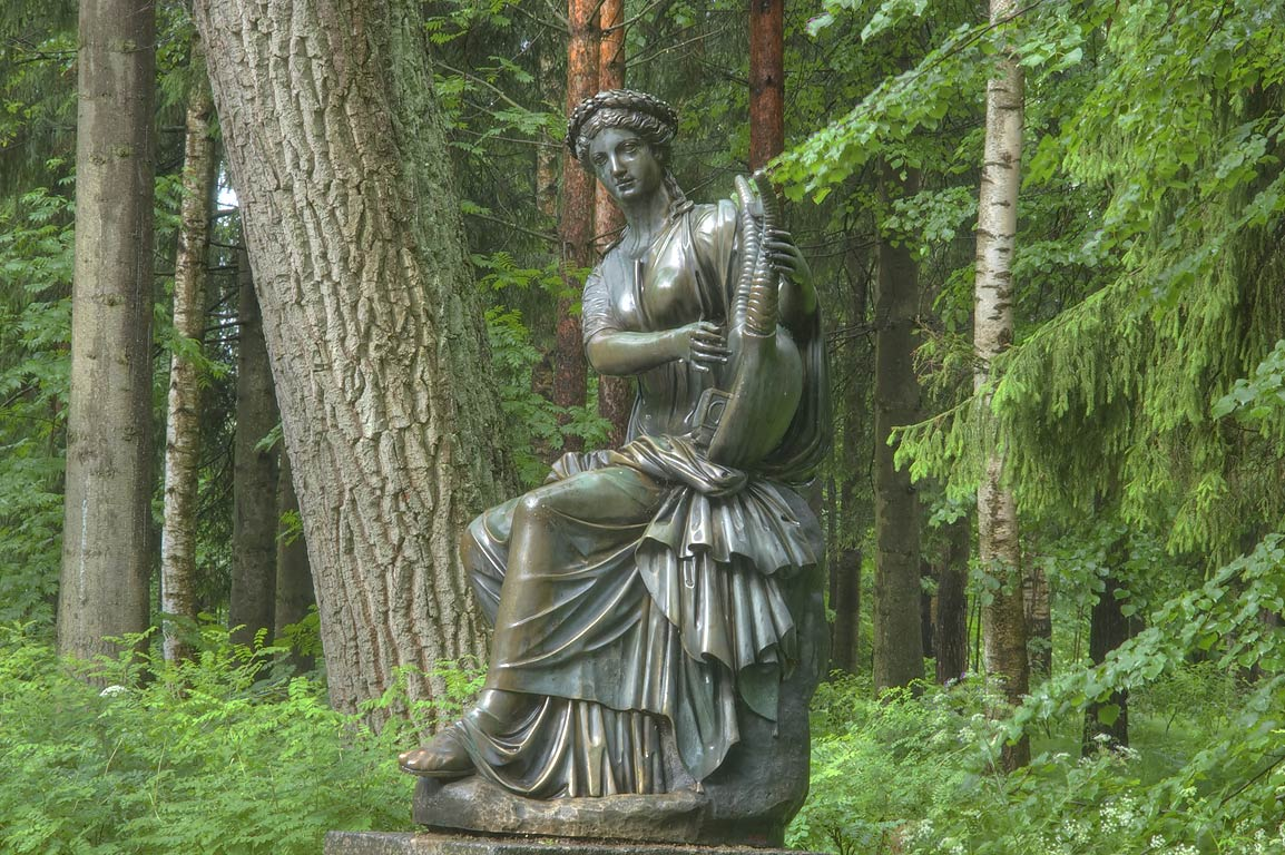 Sculpture of Terpsichore, muse of music and dance...Park, south from St.Petersburg, Russia