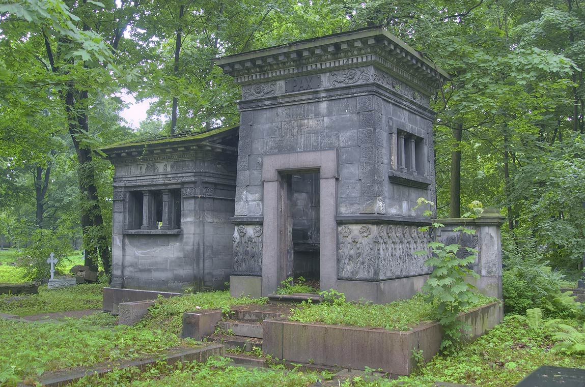 Large stone mausoleum in Novodevichye Cemetery at...Prospekt. St.Petersburg, Russia