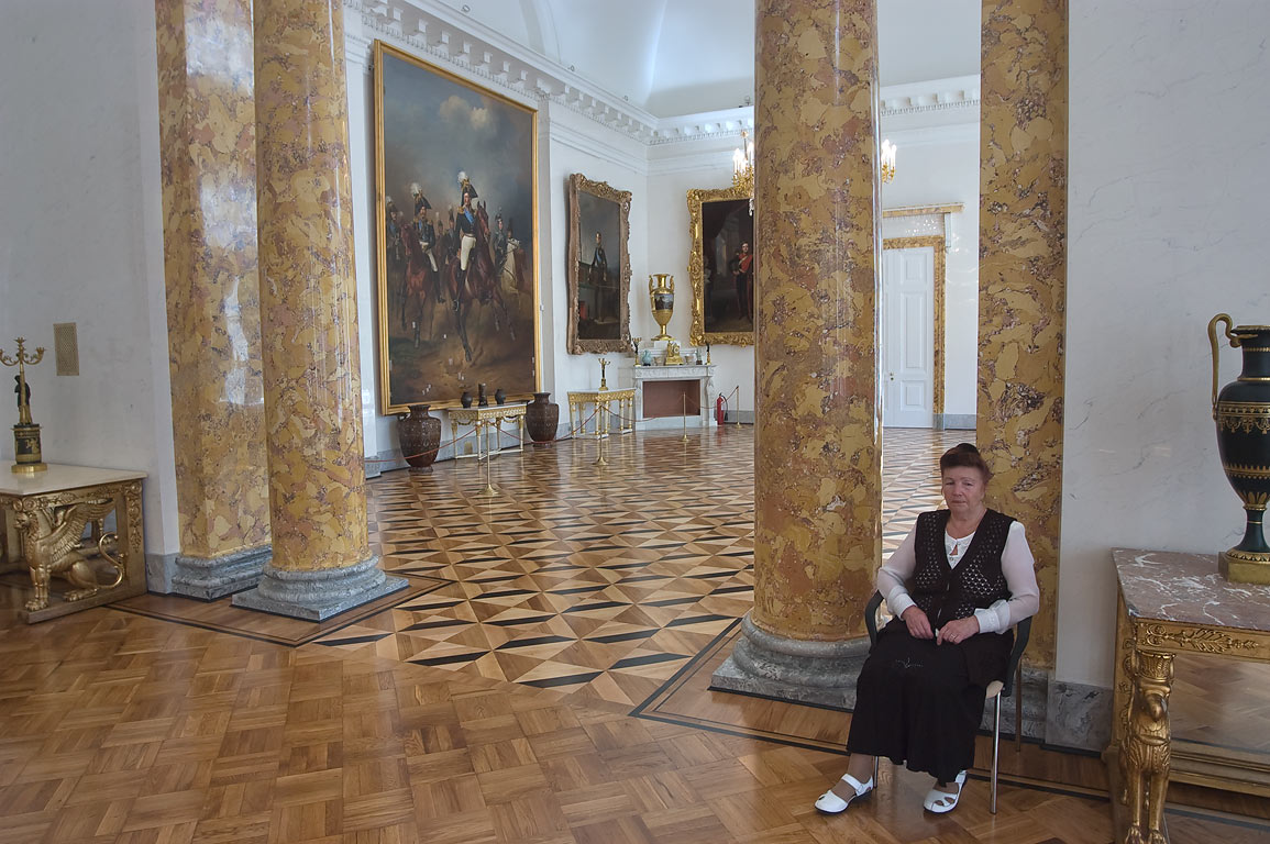 Museum keeper in Alexander Palace in Pushkin...Selo) south from St.Petersburg, Russia