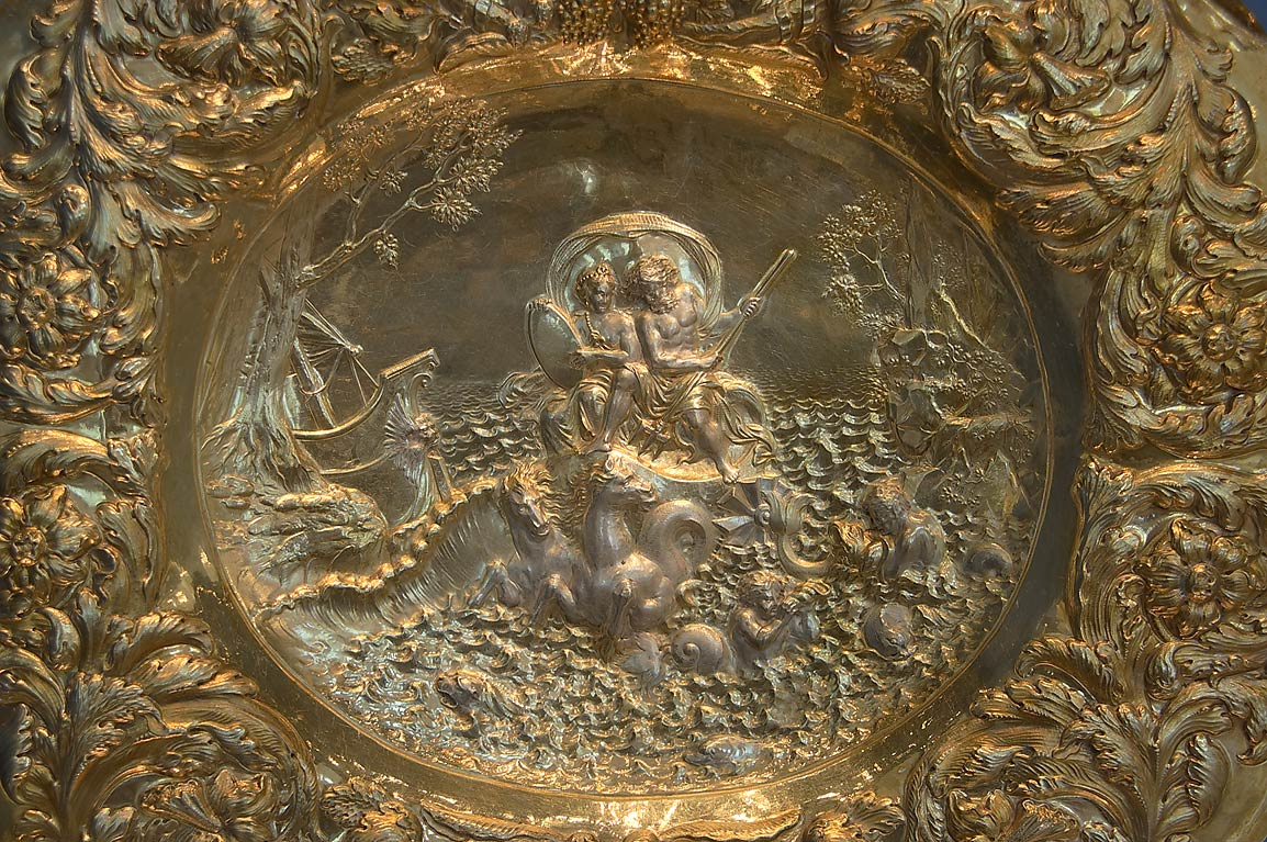 Decorated bronze dish in Hermitage Museum. St.Petersburg, Russia